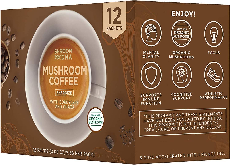 ShroomDNA Mushroom Coffee Blend with Cordyceps + Chaga | Instant Focus + Clarity All Day | Organic + Vegan + Gluten Free | No Added Sugar (12 Count Pack)