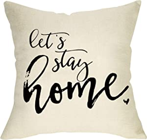 Softxpp Farmhouse Decorative Throw Pillow Cover Let's Stay Home Quotes, Rustic Cushion Case Home Square Pillowcase Decor for Sofa Couch Decoration 18 x 18 Inch Cotton Linen