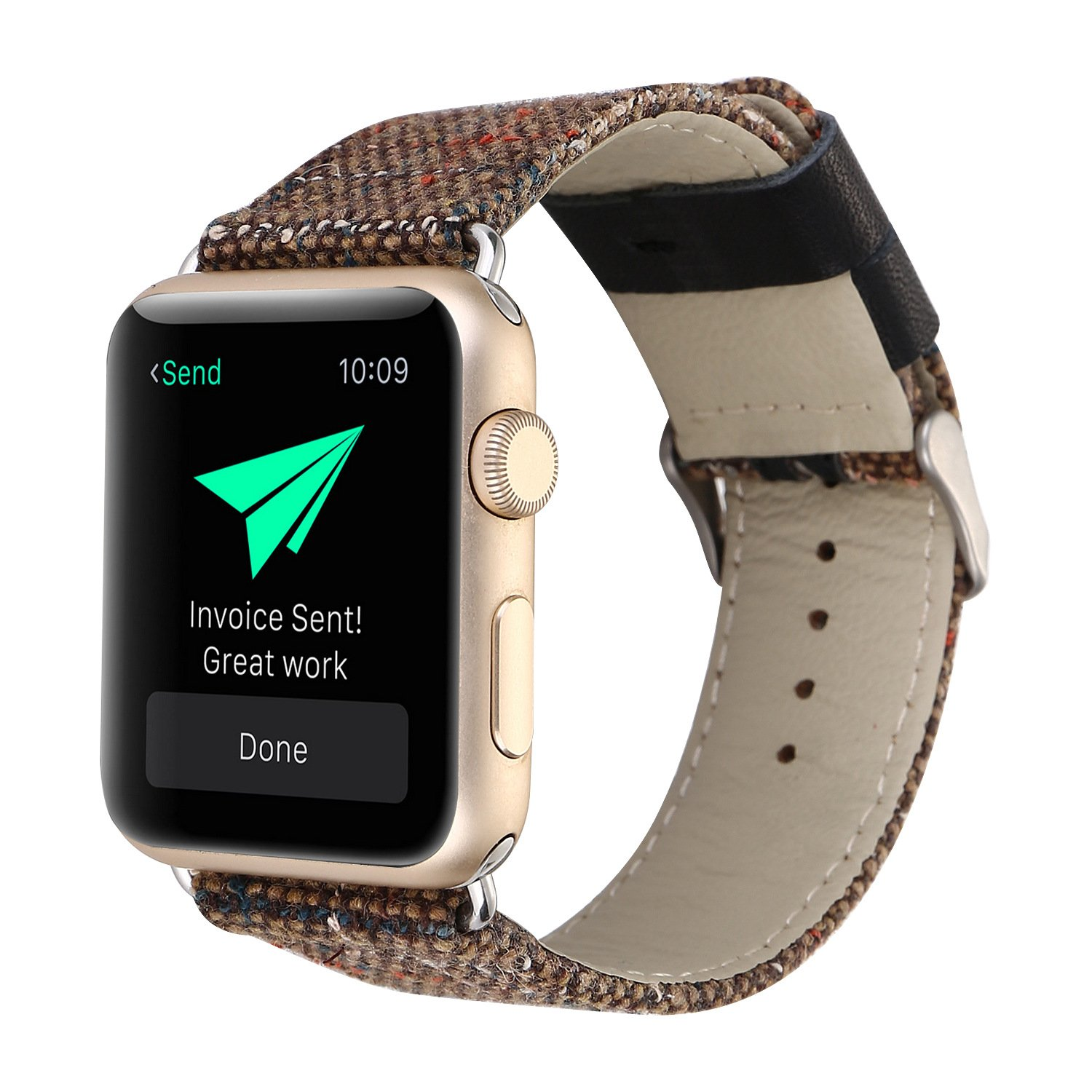 Apple watch cotton linen watch strap genuine leather strap for iwatch 1,2,3 brown 42mm