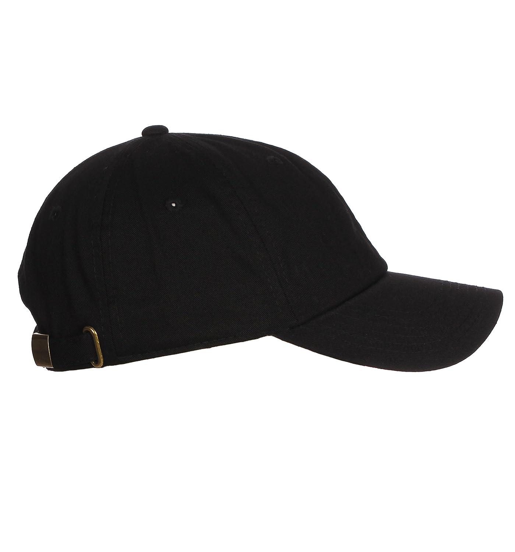 09d8ee6b00fbd Amazon.com  D I Plain Dad Hat 100% Cotton Unstructured Hat Unisex Adjustable  Strap - Black  Clothing