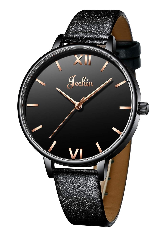 Jechin Casual Women Watches Leather Wristwatch Waterproof Quartz Watch