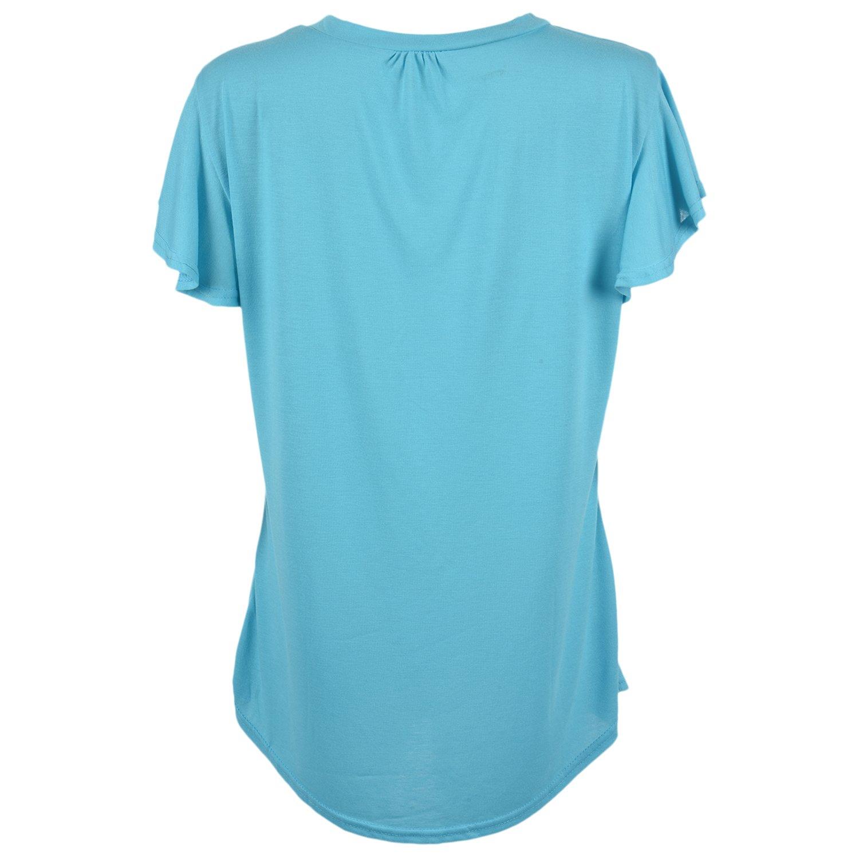 Negro 4XL Cikuso Camiseta de manga corta con cuello en v para mujer de algodon Tapas plisadas sueltas de color solido Camiseta casual fluida talla grande