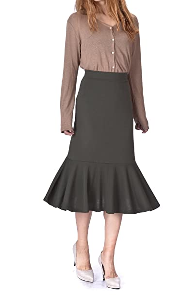 4b173869540431 Flowy Elastic Waist Frilled Hem Fish Tail Mermaid Flared Midi Skirt (M,  Khaki)