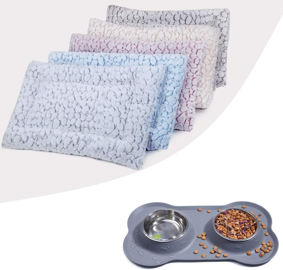 Reversible & Washable Super Soft Plush Crate Pad Mat Bed and Dog Bowl Set
