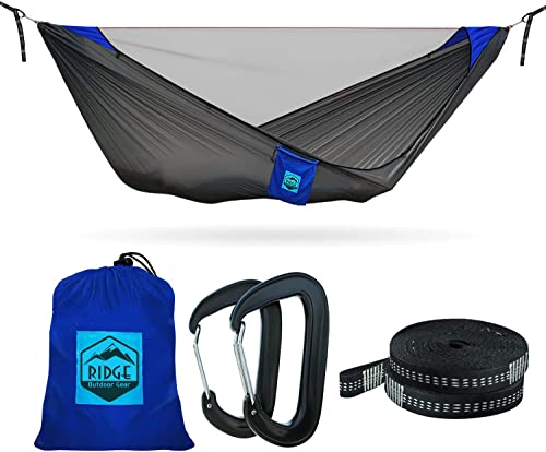 11ft Camping Hammock with Mosquito Net – 2019 Upgraded – Ultralight Hammock Tent Bundle with Bug Netting, Straps, and Carabiners Grey-Blue Ripstop with Ridgeline, Double Large