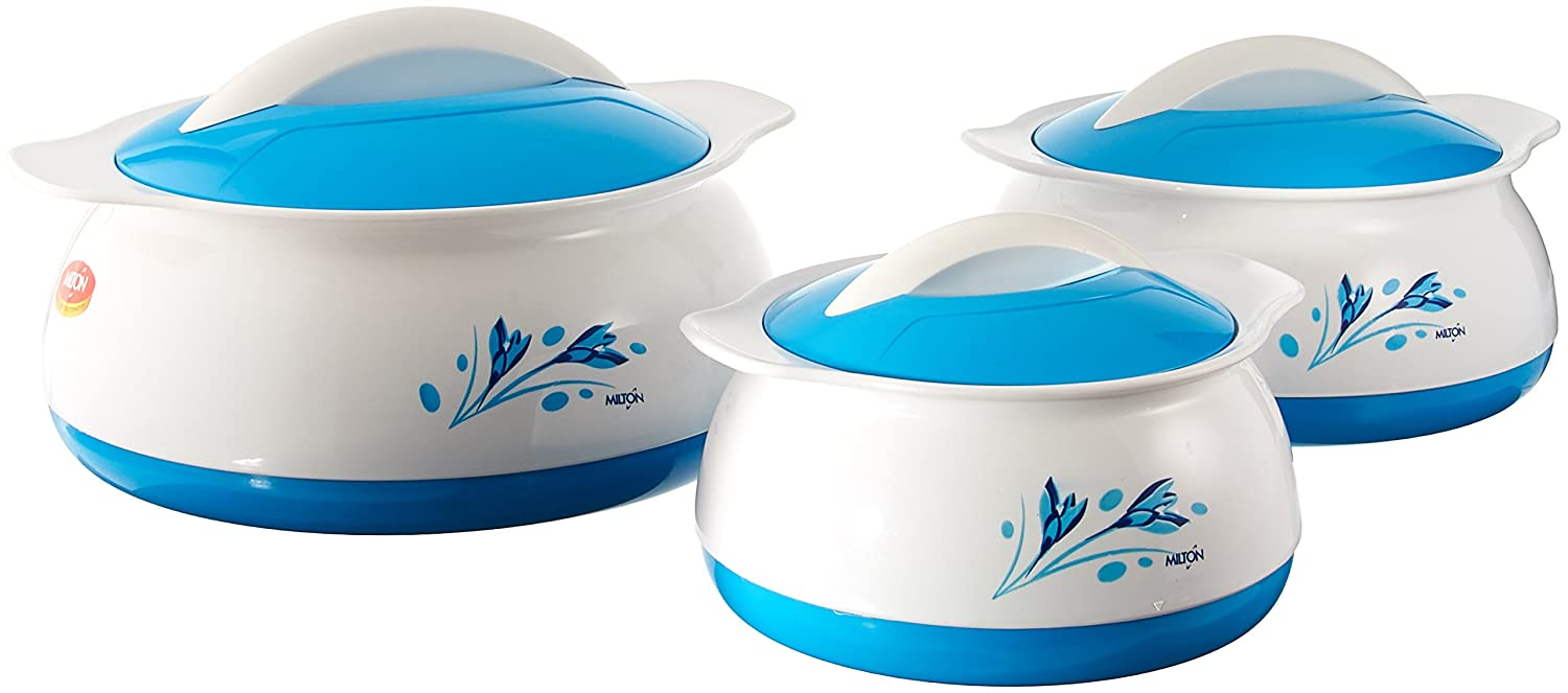 Milton Delish Insulated Thermo Hot Or Cold Casserole Serving Bowls With Stainless Steel Inner And Locking Lids (Set of 3), White With Blue