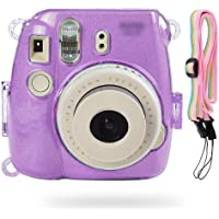 SHAFIRE Protective Case Compatible for Fujifilm Mini 8/Mini 9 Instant Camera - Crystal Hard PVC Cover with Removable Rainbow Shoulder Strap - Transparent Shining Purple