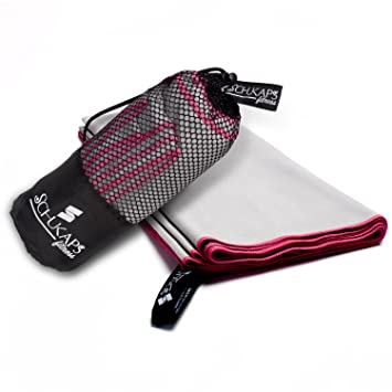 Schukaps Toalla de Microfibra compacta y de Secado rapido con Bolsa para Viajes - Deporte Piscina Playa Yoga y Gimnasio Fitness - (150x80cm, ...