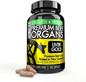 Paleo Pro Liver Gold Premium Beef Organs Capsules, Premium Beef Liver from Grass Fed & Pastured Cows in New Zealand, Dietary Supplement, No Added Hormones or Antibiotics, 180 Capsules