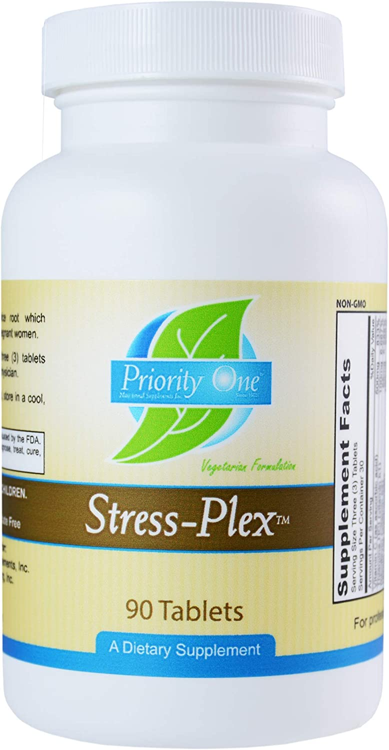 Priority One Vitamins Stress Plex 90 Tablets - Support a Healthy Nervous System, Calm Relaxed State of Wellbeing Due to high Potency b Vitamins.*