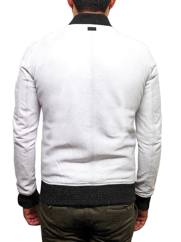 Brandslock Mens Genuine Leather Bomber Jacket Varisty Waxed Sheepskin at Amazon Mens Clothing store: