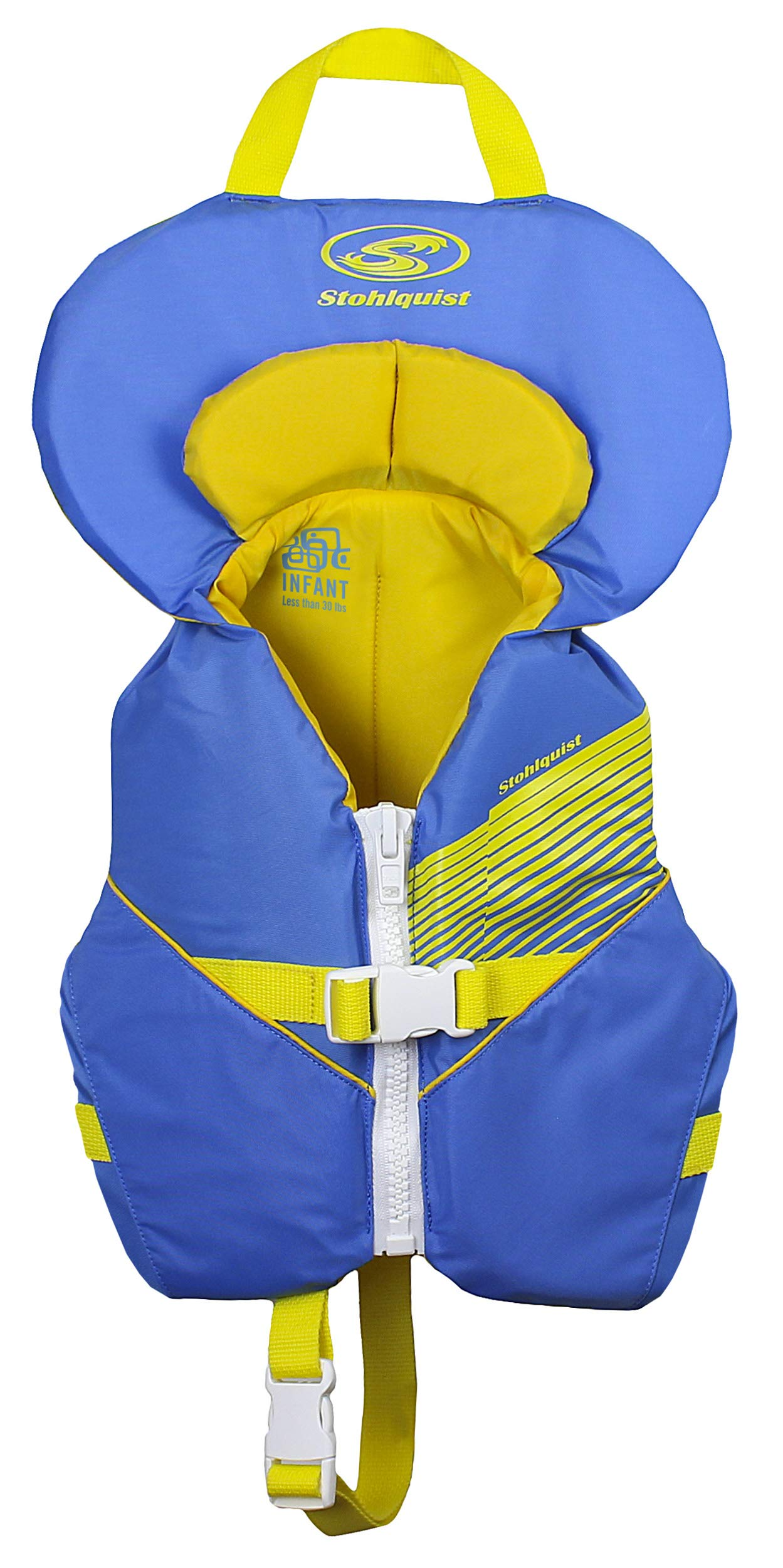 Stohlquist Waterware Toddler Life Jacket Coast Guard Approved Life Vest for Infants, Blue/Yellow, 8-30 Pounds