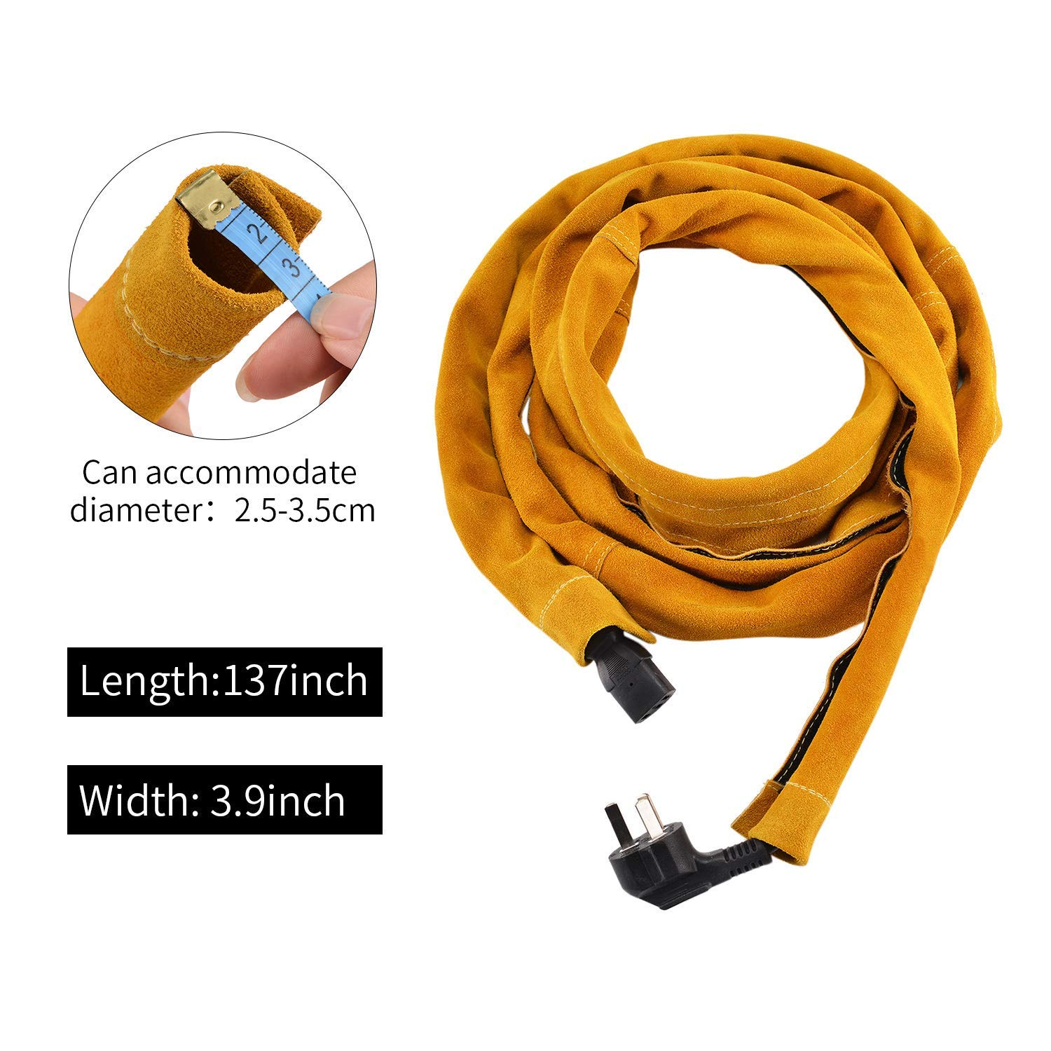 ENJOHOS TIG Welding Torch Cable Cover Splash Flame Resistant Cowhide Split Leather Kevlar Stitched with Velcro 137x 3.9