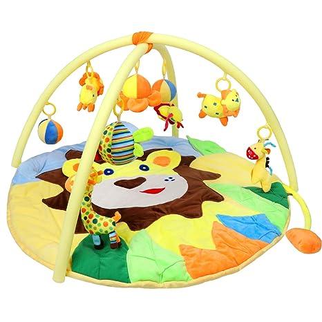 Bammax León Gimnasio Bebe, Manta Bebe de Jungle Zoo, Manta de Bebé de Juguete, Muñeca Animal Gratis, Regalo Recién Nacido, No tóxico
