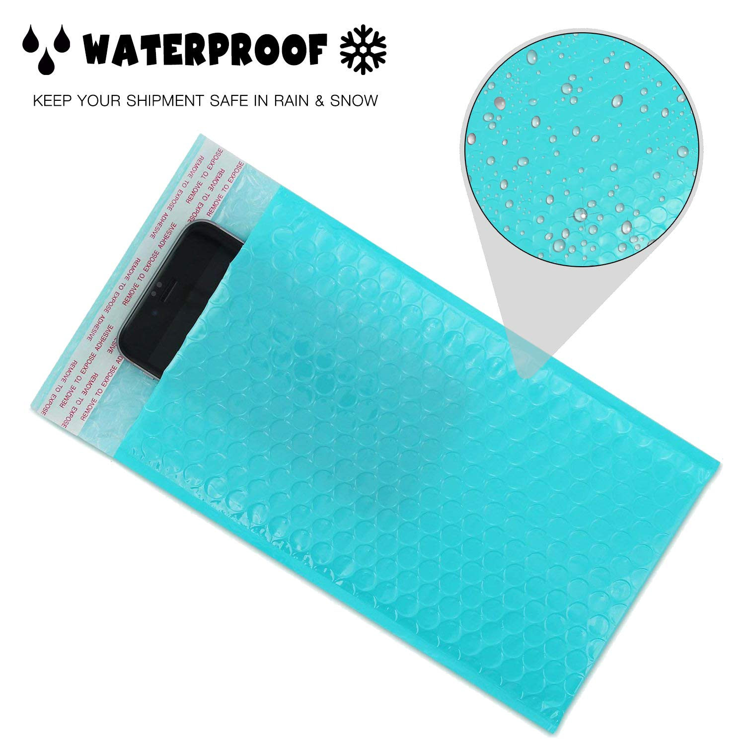 Yomuse B//00 Packaging Self-Seal Padded Bubble Plastic Mailers Postage Bags 130mm x 210mm 40mm Lip Teal Pack of 300