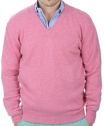 Balldiri 100% Cashmere Kaschmir Herren Pullover V-Ausschnitt 4-fädig rosa  XXXL e61f525149