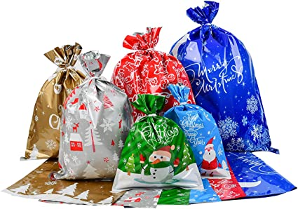 Tuopuda 30PCS Bag Christmas Goody Bags Gift Wrapping Assorted Styles with Ribbon Ties Resealable Flat Bags Lager Size Xmas Gift Bags for Birthday Christmas Party B