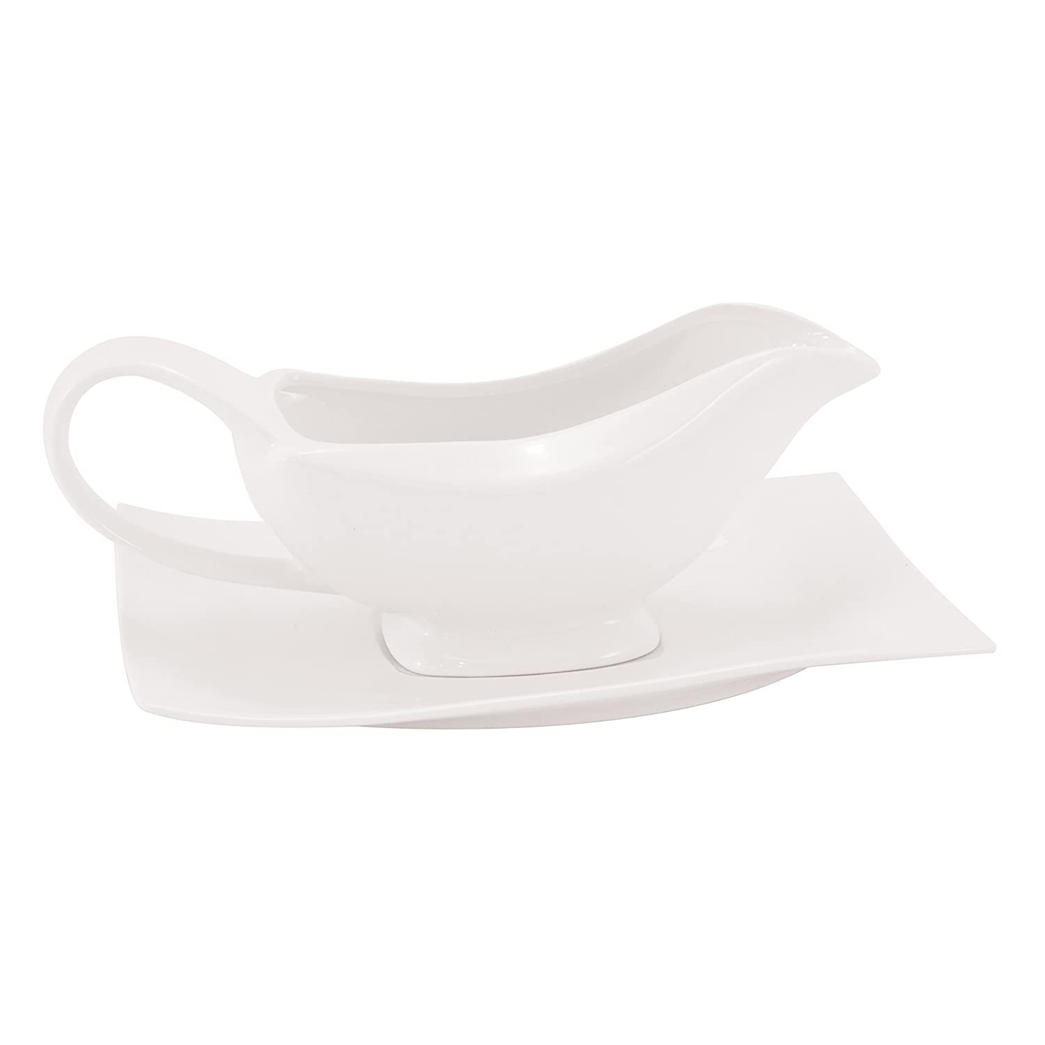 White Basics Collection, Motion Gravy Boat and Saucer Set, White RP11610