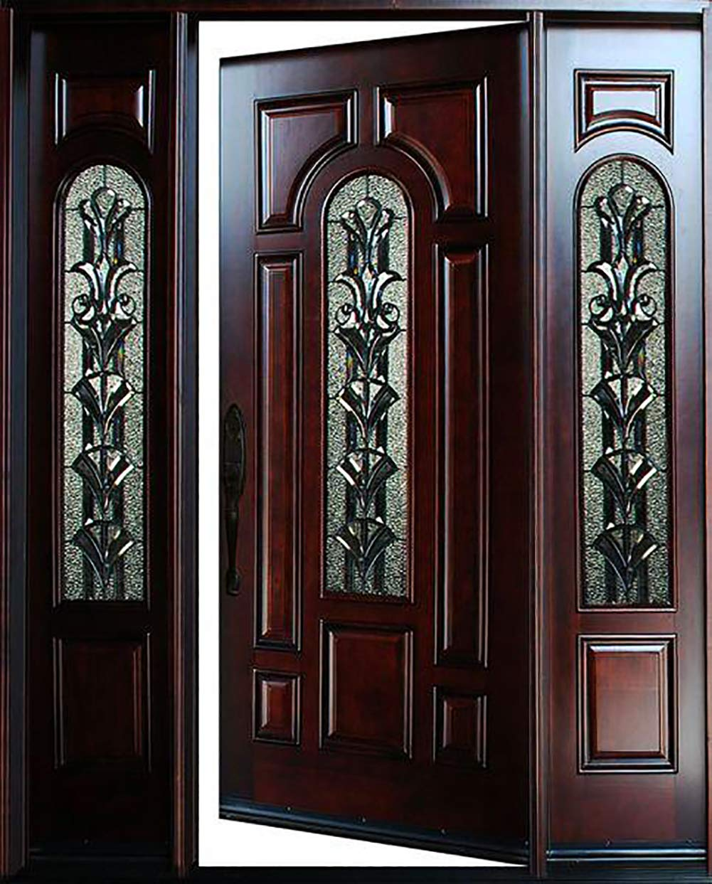 18X36X80 Solid Wood Exterior Front Entry Door Finished with Sidelights Right Hand in-Swing Prehung Door with Glass Decoration