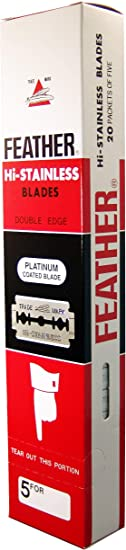100 Feather Razor Blades NEW Hi-stainless Double Edge Women's Manual Razors at amazon