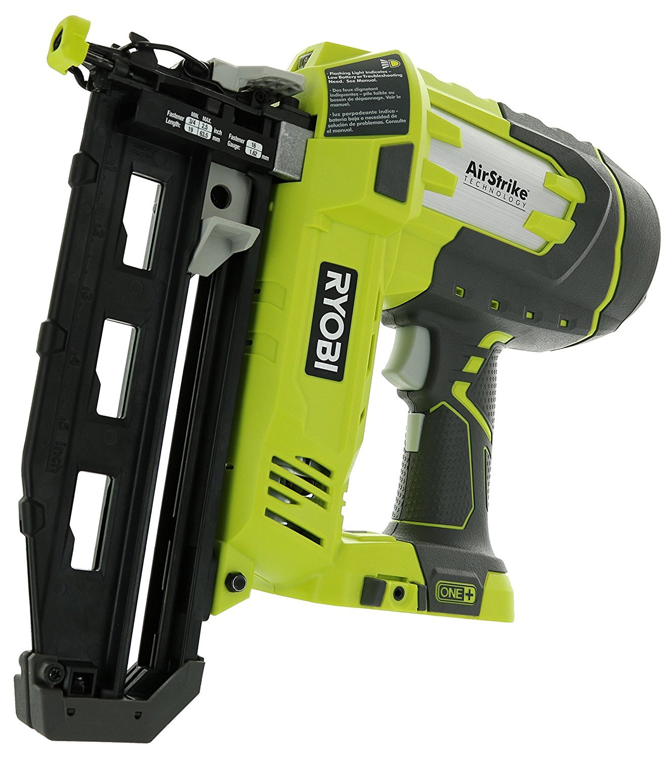 Ryobi P325 One+ 18V Lithium Ion Battery Powered Cordless 16 Gauge Finish Nailer (Battery Not Included, Power Tool Only)