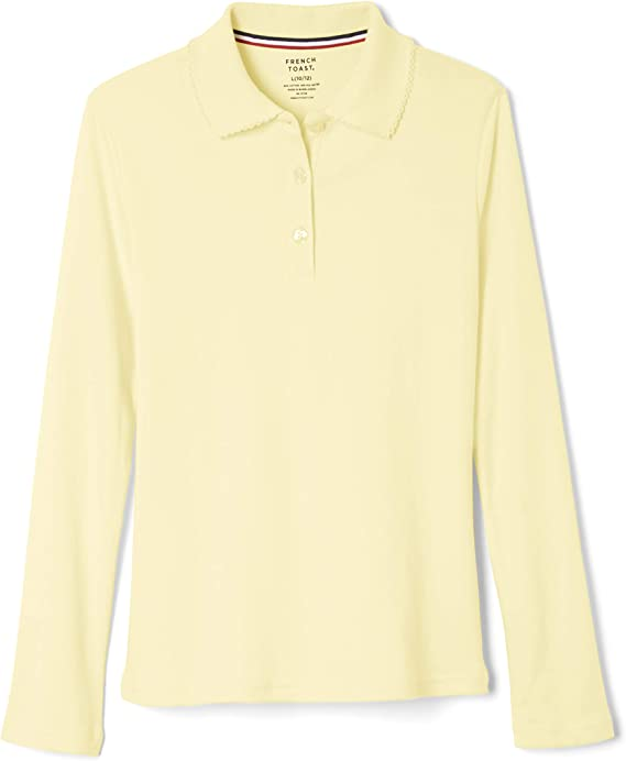 French Toast Big Girls L//S Fitted Knit Polo With Picot Collar 18//20 white