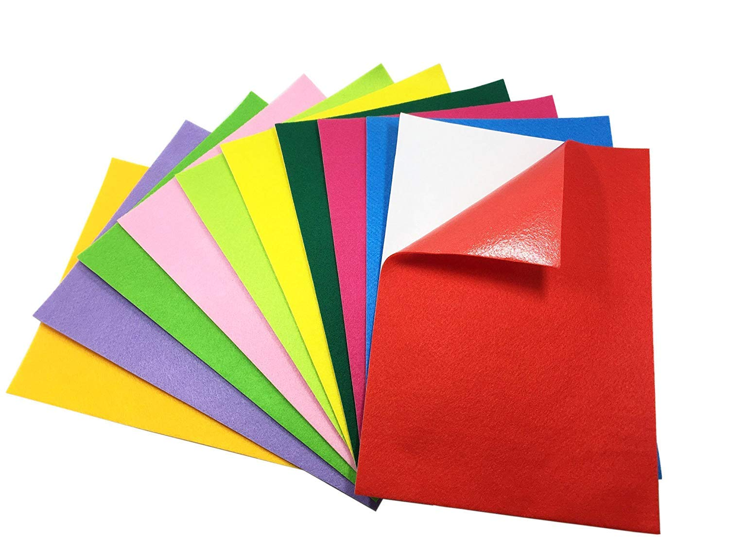 10 Colorful Sheets of Stickyfelt - Peel and Stick, Adhesive-Backed Felt Sheets,Adhesive Back Felt Sheets Fabric Sticky Back Sheets, Self-Adhesive Felt for Art and Craft Making