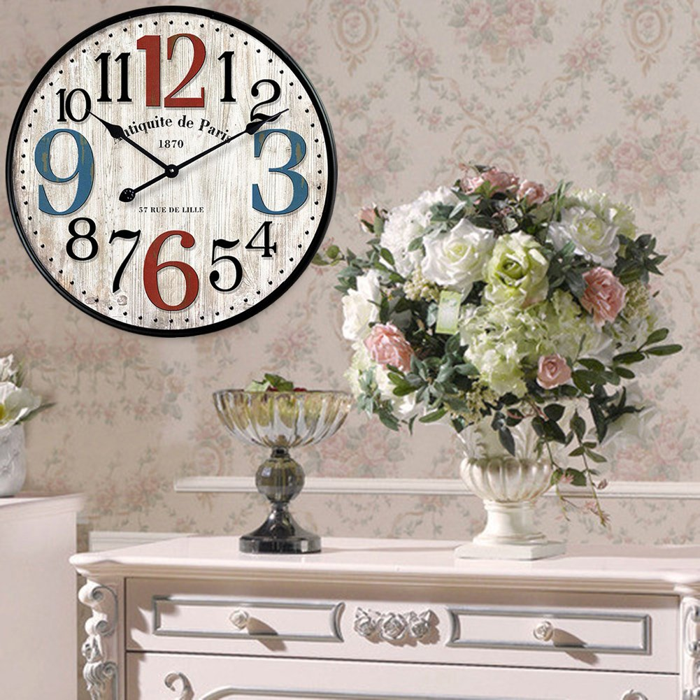 YeYo Simple European Style Wall Clock Wooden MDF Waterproof Silent Art Decor for Home Living Room Office Decoration 12 inch