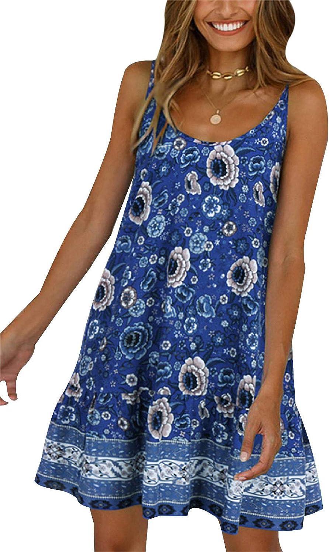 Women Vintage Leopard Printed Dress Boho Summer Sleeveless T-Shirt Beach Short Mini Dress