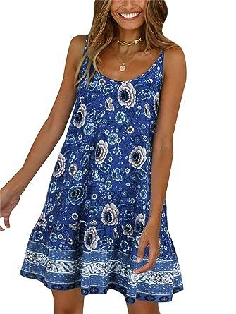 61a24a6990 SHIBEVER Women's Summer Sexy Floral Printed Dress Adjustable Spaghetti Strap  Mini Beach Casual Ruffle Swing Boho