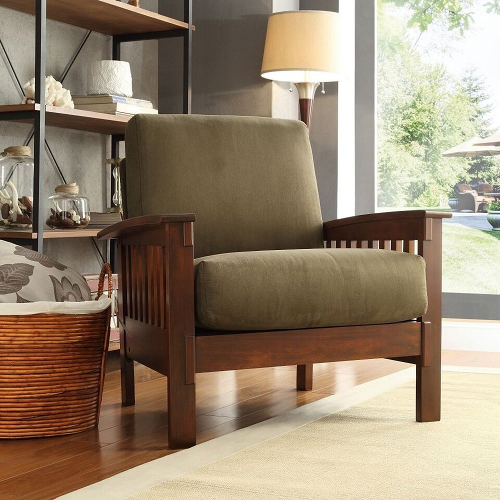 Amazon.com: TRIBECCA HOME Hills Modern Mission Style Oak Upholstered  Microfiber Accent Chair Armchair For Comfortable Living Room Seating:  Kitchen U0026 Dining