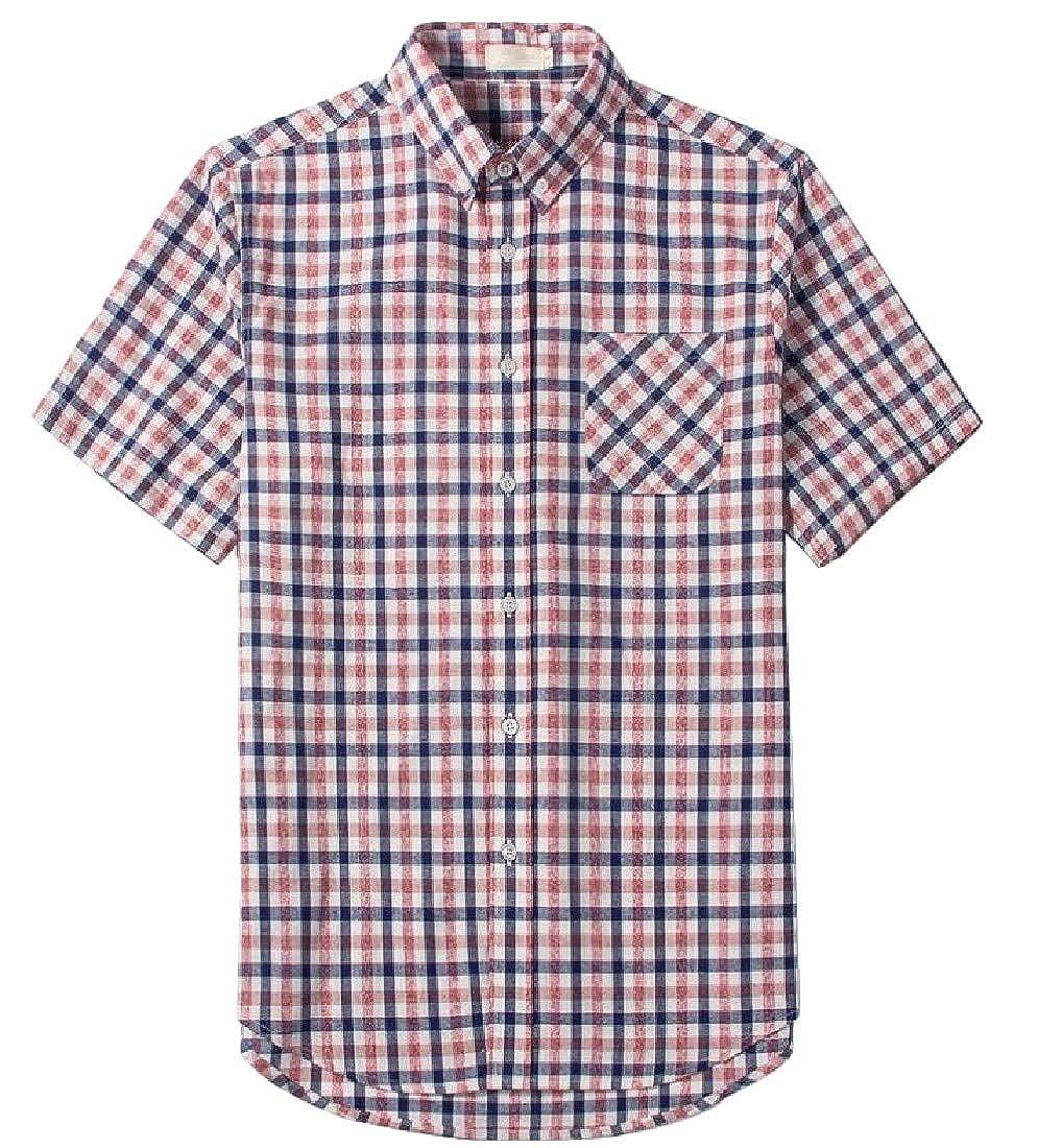 pipigo Mens Short Sleeve Big and Tall Button Down Lapel Plaid Slim Fit Shirts