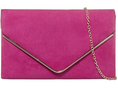 c68298927 Image Unavailable. Image not available for. Colour: Purple Possum® Pink  Envelope Clutch Bag Fuchsia Faux Suede Evening Bag Ladies Cerise Shoulder  Bag