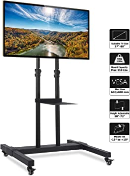 Monitors Display Trolley Stand Mobile TV Stand Rolling TV Cart Floor Stand on Lockable Wheels with Tilt Mount and Adjustable Shelf for 32-70 Inch Flat Screen or Curved TVs