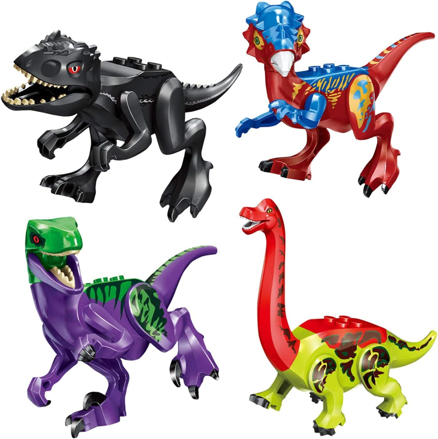 Multicolored Pterosauria LTCtoy 8pcs Dinos Toy,Buildable Dinosaur Building Blocks Figures with Movable Jaws,Including T Rex Velociraptor