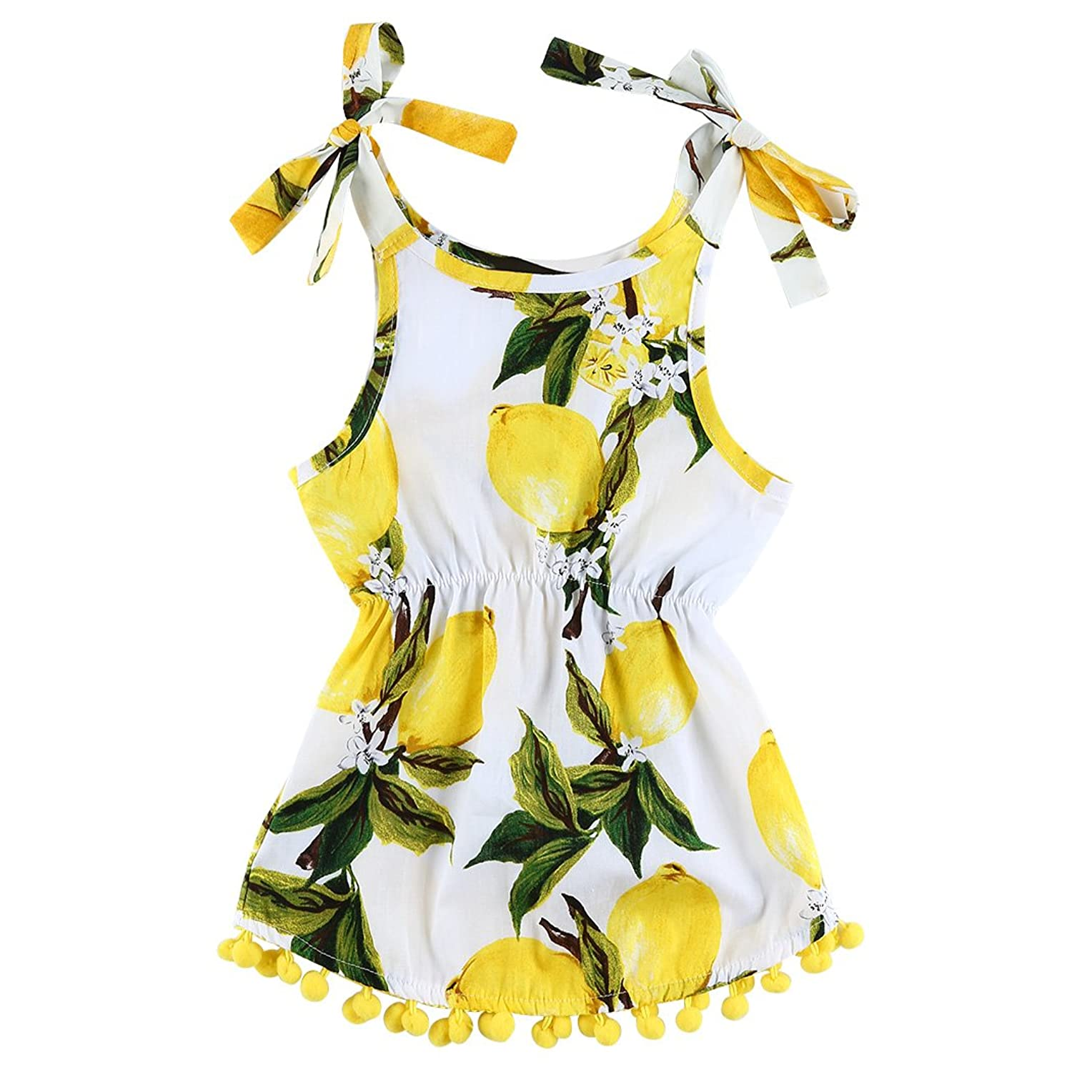 815d2ebffd Fashion baby toddler infant girls summer lemon fruit floral printed  sleeveless sundress. Self tie bowknot straps on shoulder