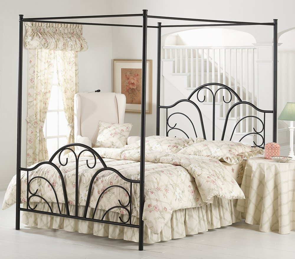 Amazon Hillsdale Furniture 348BQPR Dover Canopy Bed Set With Rails And Legs Textured Black Kitchen Dining