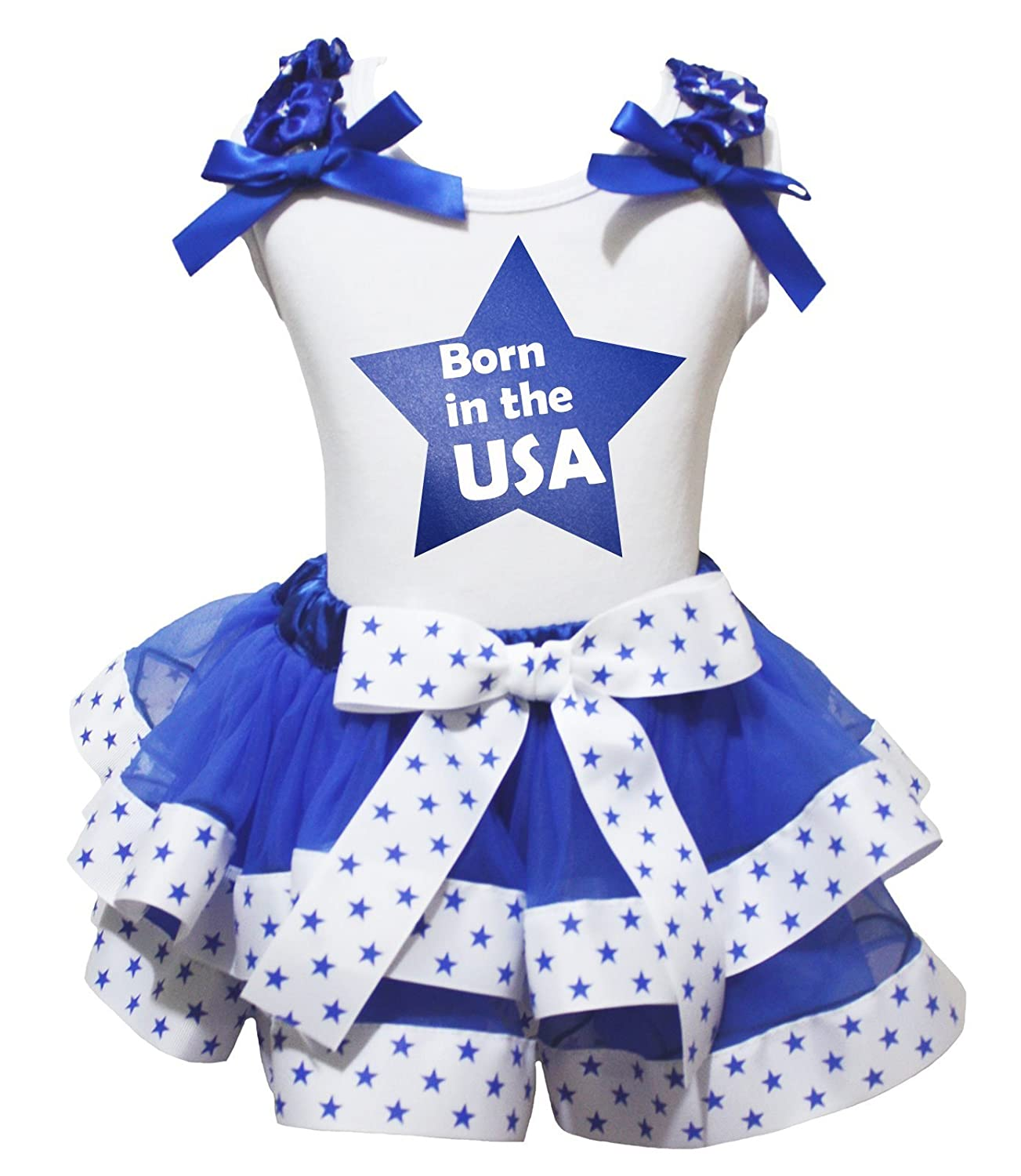 4th July Dress Born in the USA White Top Blue Stars Ribbon Petal Skirt Set Nb-8y