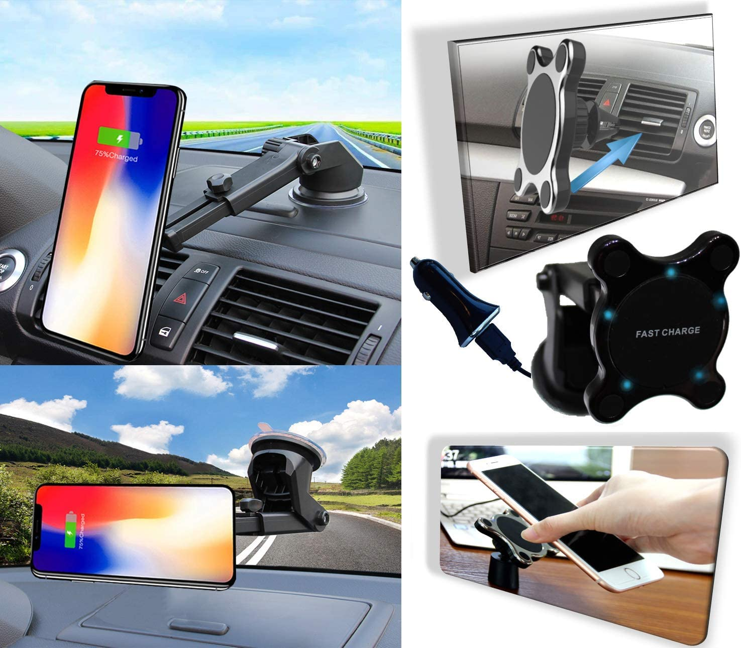 10W Fast Wireless Charging: iPhone Xs Max//XR//X//8//8+ Samsung S10//S9//S8//Note 8 2BConnect Premium Strong Mount Qi Fast Charging Car Kit Includes CQ3.0 Adapter Magnetic Wireless Car Charger 3Amp Cable