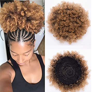Barrici Synthetic High Puff Afro Ponytail Drawstring Afro Buns Hair Piece Short Afro Kinky Hair