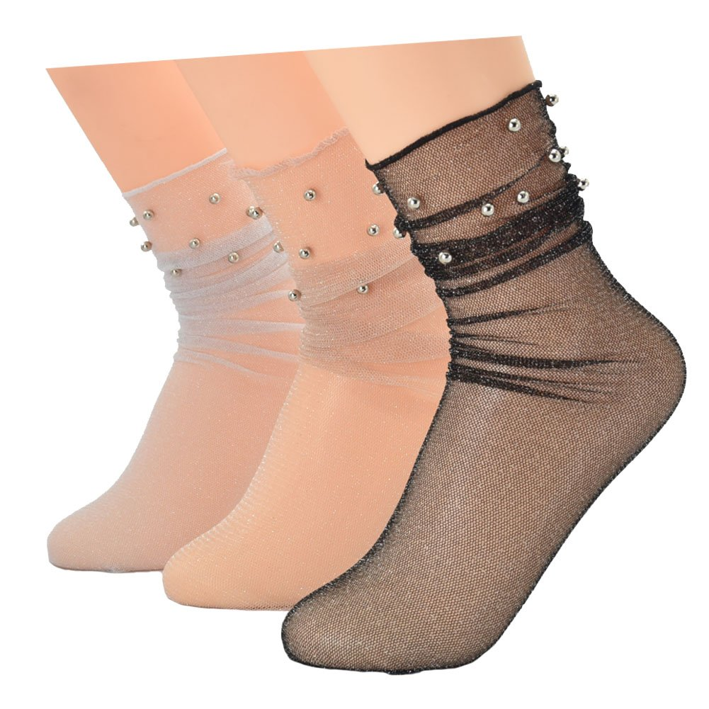 Ziye Shop 3 Pairs Glitter Mesh Silver Beads Fashion Shiny Transparent Elastic Socks