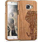 kwmobile Coque en bois véritable avec Design motif éléphant pour Samsung Galaxy A3 (2016) en bois de cerisier marron clair