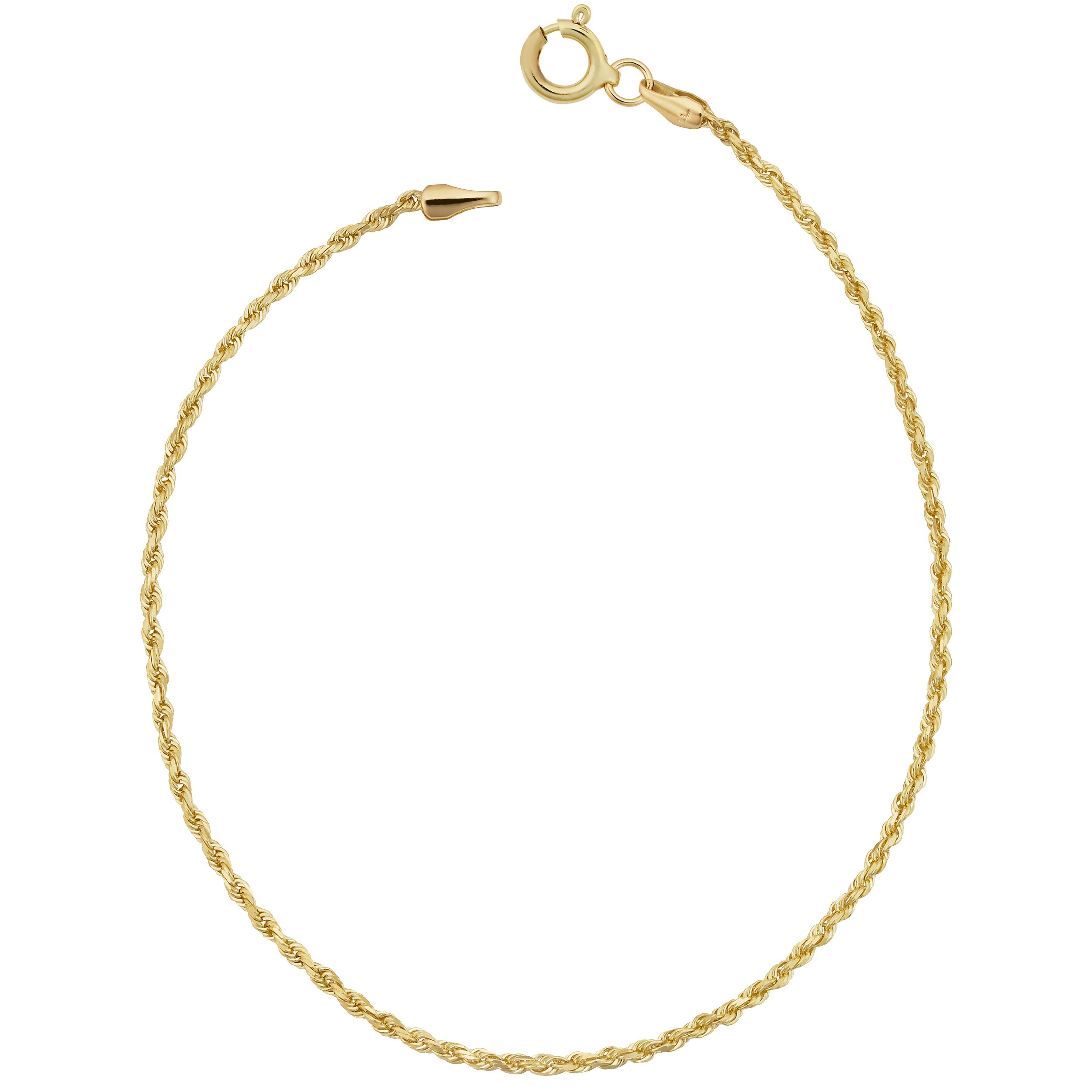 14k Yellow Gold Rope Anklet (1.6mm, 10 inch)