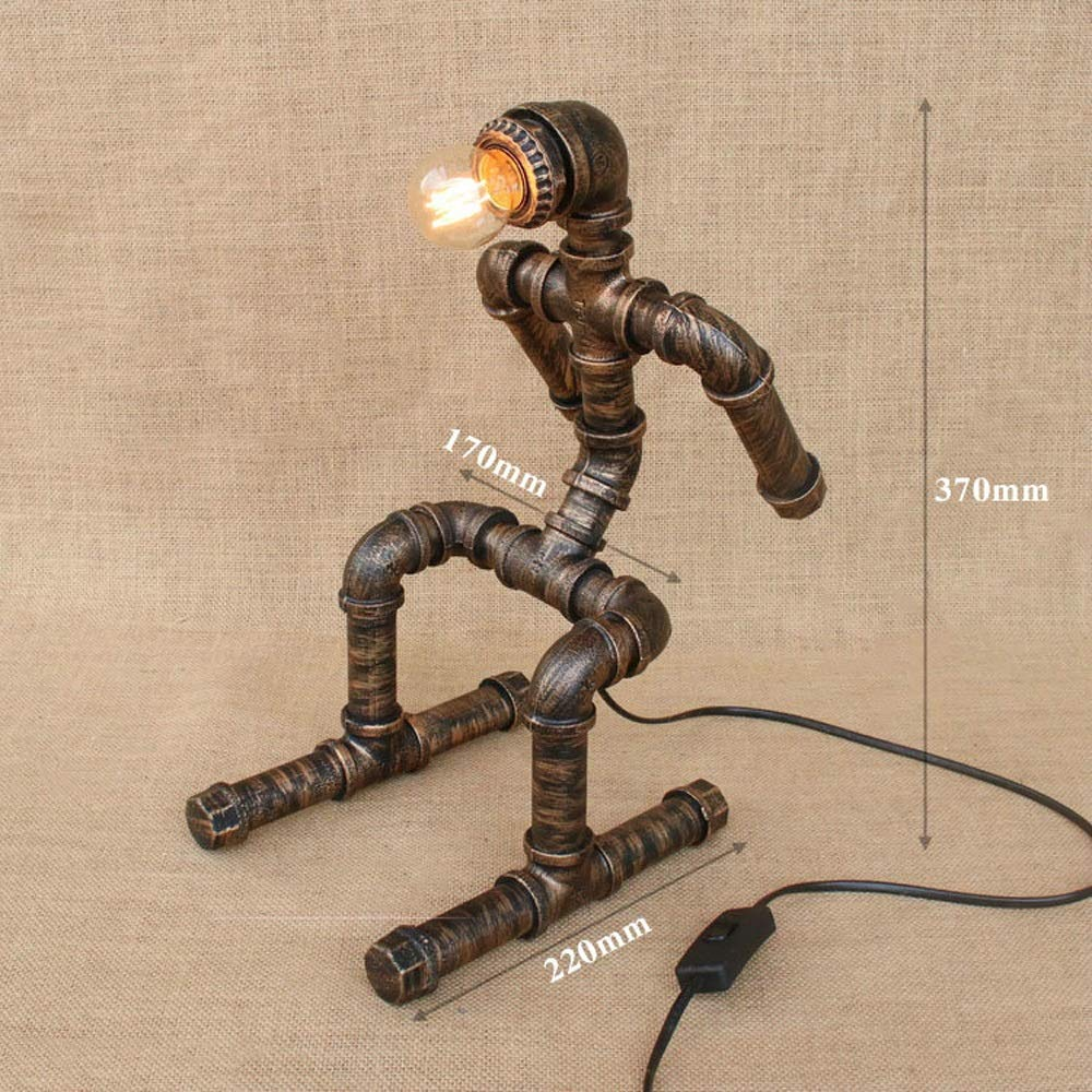 E ZSAIMD Vintage Industrial Style Rost Eisen Wasserpfeife Wandleuchte Steampunk Beleuchtung Wandleuchte Schreibtisch Tischlampe Licht mit rotem Ventilgriff und Schalter 1 Licht Verwendung E26   27 Birne