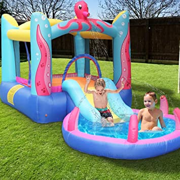 Small Indoor Playground For Kids Toddlers Children S Inflatable Bouncer Swimming Pool With Air Blower And Jumping Castle With Slide And Sprinkler Kids Water Toy Birthday Gift Multicolour Sports Outdoors