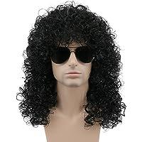 Karlery Men's Long Curly Black Halloween Rocker Costume Wig Anime Party Cosplay Wig
