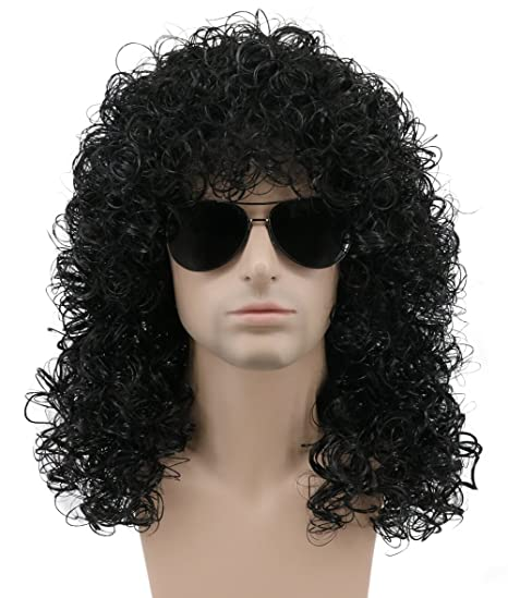 Amazon.com: Karlery Mens Long Curly Gold Wig Halloween Costume Anime Party Cosplay Wig 80s Heavy Metal Rocker Wig: Beauty