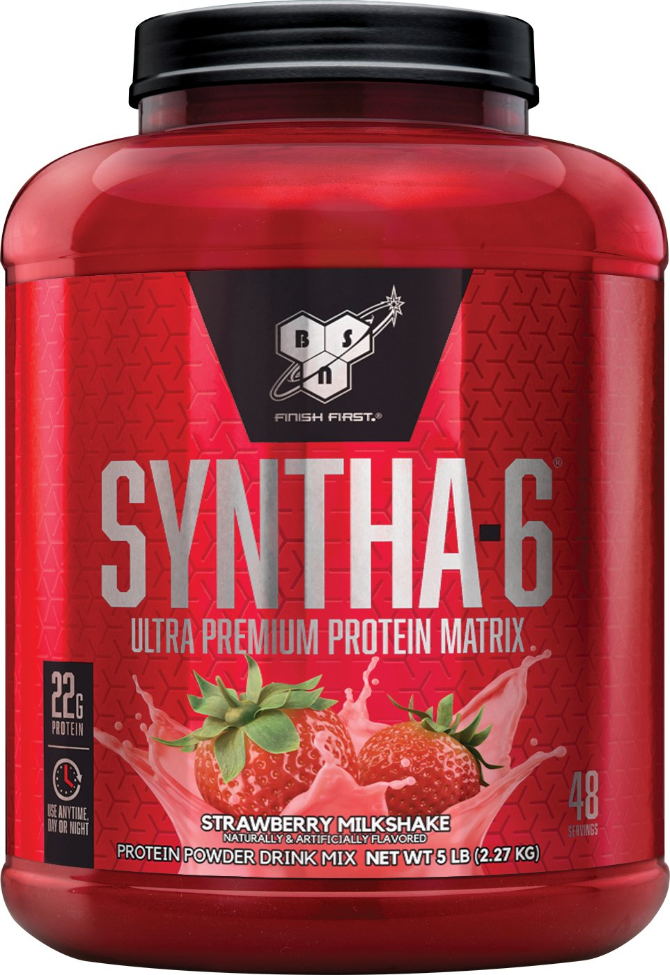 BSN SYNTHA-6 Whey Protein Powder, Micellar Casein, Milk Protein Isolate Meal Replacement Powder, Strawberry Milkshake, 48 Servings (Packaging May Vary)