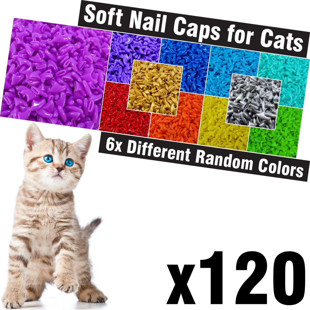 120 pcs Soft Cat Claw Caps for Cats Nail Claws 6X Different Random Colors + 6X Adhesive Glue + 6X Applicator, Pet Cap Tips Cover Paws Grooming Soft Covers zetpo