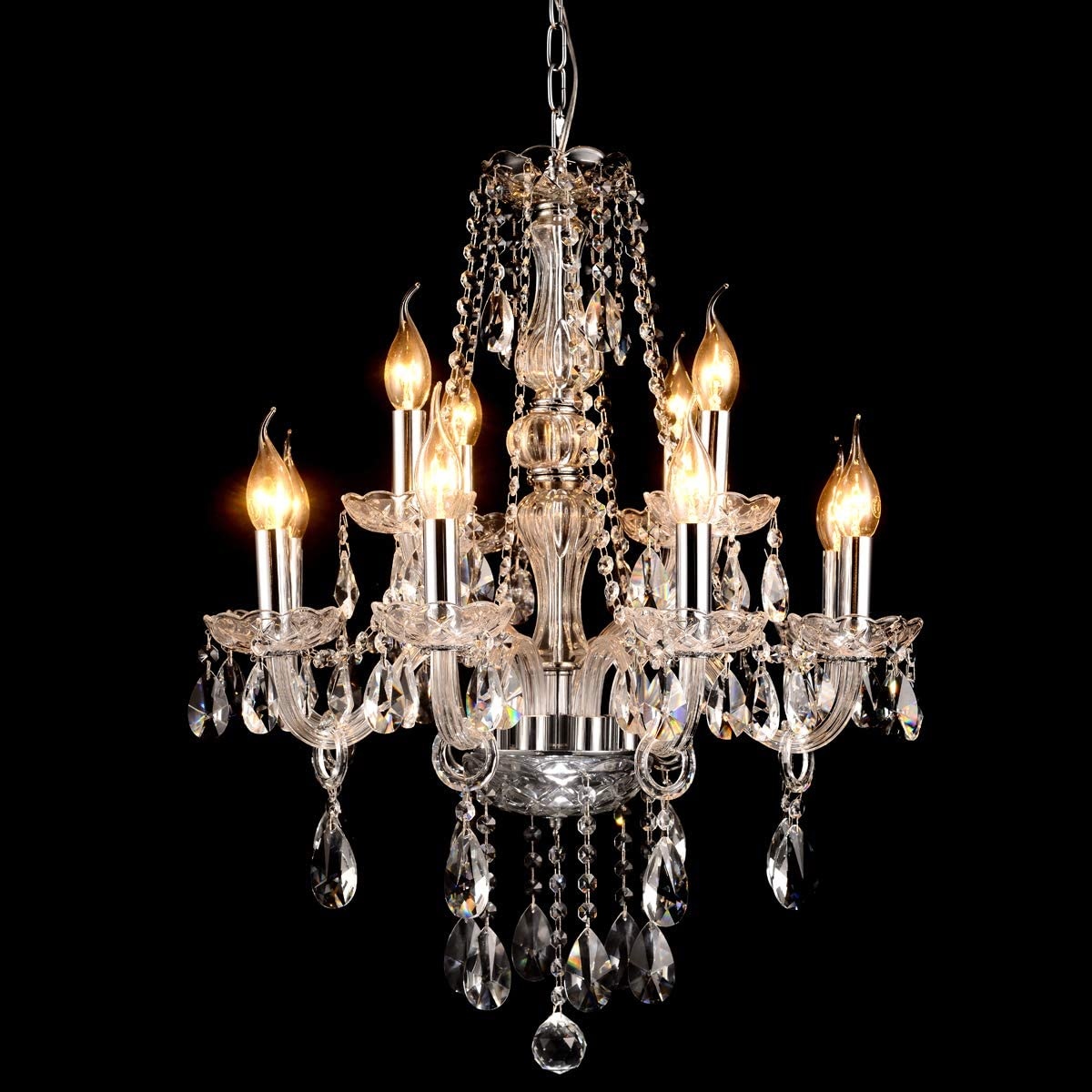 BEIRIO Modern Luxurious K9 Crystal Chandelier Classic 12-Lights Pendant Ceiling Lighting Fixture